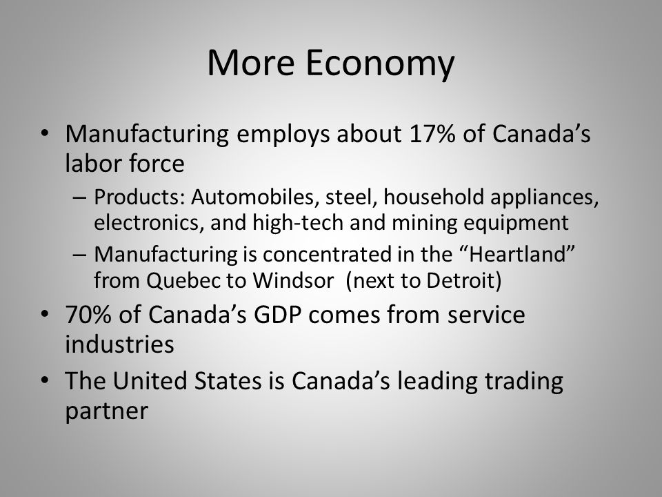 More Economy Manufacturing employs about 17% of Canada's labor force