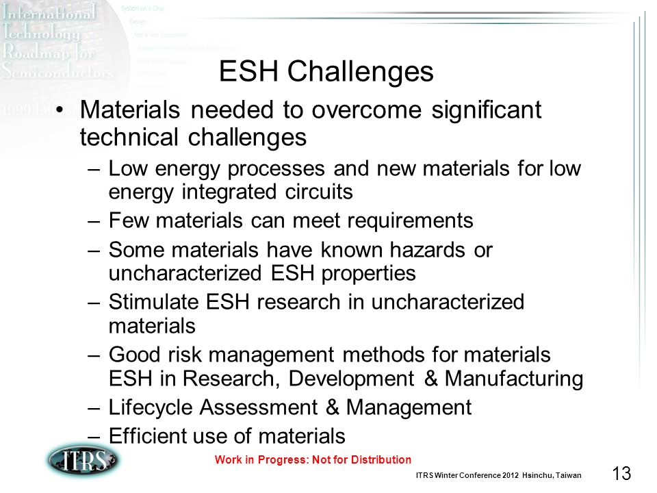 ESH Challenges Materials needed to overcome significant technical challenges.