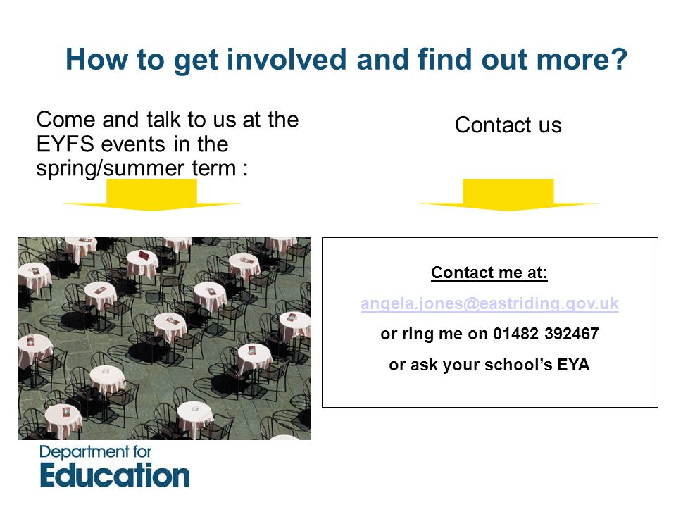 How to get involved and find out more or ask your school's EYA