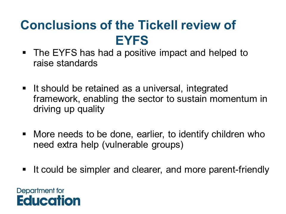 Conclusions of the Tickell review of EYFS