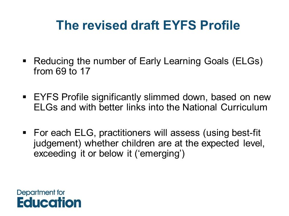 The revised draft EYFS Profile