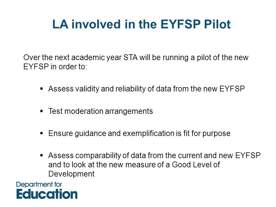 LA involved in the EYFSP Pilot