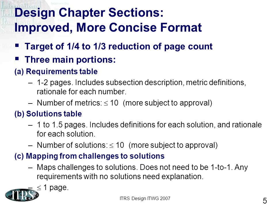 Design Chapter Sections: Improved, More Concise Format