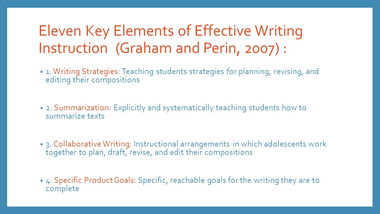 key elements of an academic essay Back to title page/table of contents 10 a (4) elements of a good writing style style refers to the way we express ourselves in writing while there is no one standard style that every writer must follow, there are two key elements in an effective writing style.