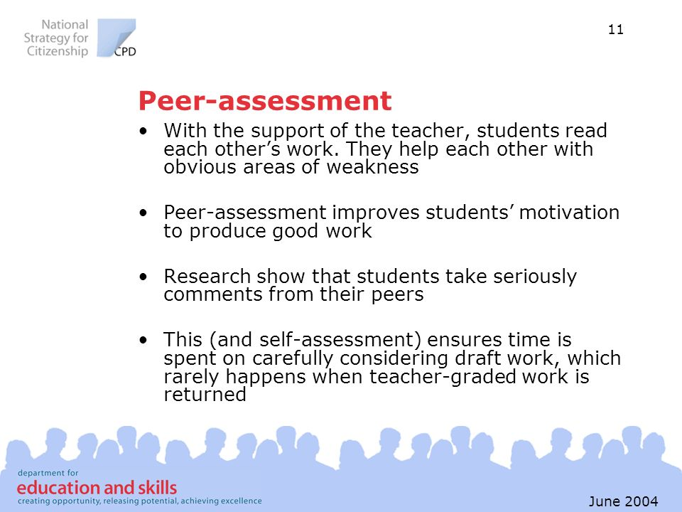 Peer-assessment With the support of the teacher, students read each other's work. They help each other with obvious areas of weakness.