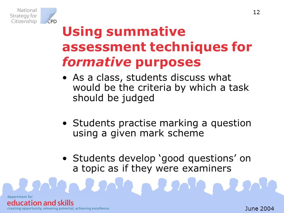 Using summative assessment techniques for formative purposes