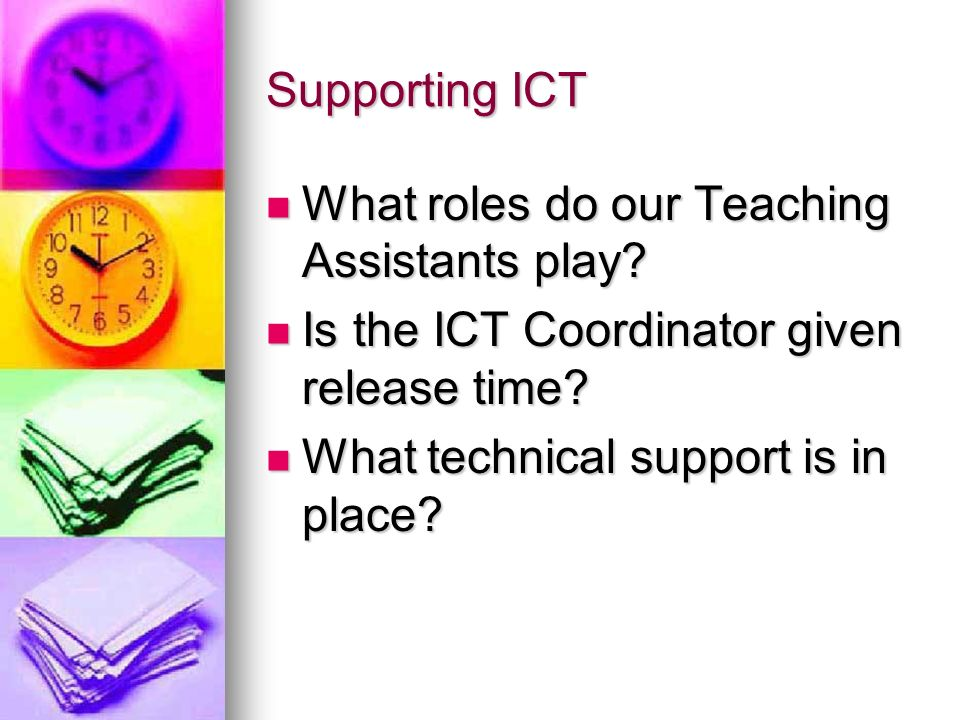 Supporting ICT What roles do our Teaching Assistants play Is the ICT Coordinator given release time