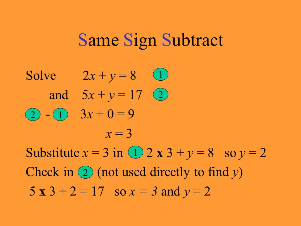Same Sign Subtract Solve 2x + y = 8 and 5x + y = 17 - 3x + 0 = 9 x = 3