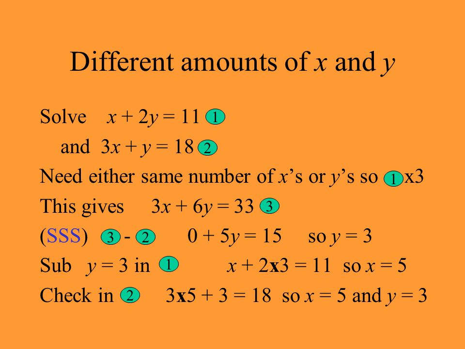 Different amounts of x and y