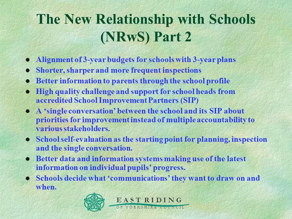 The New Relationship with Schools (NRwS) Part 2