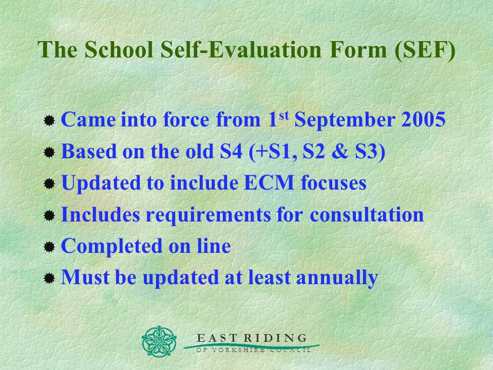 The School Self-Evaluation Form (SEF)