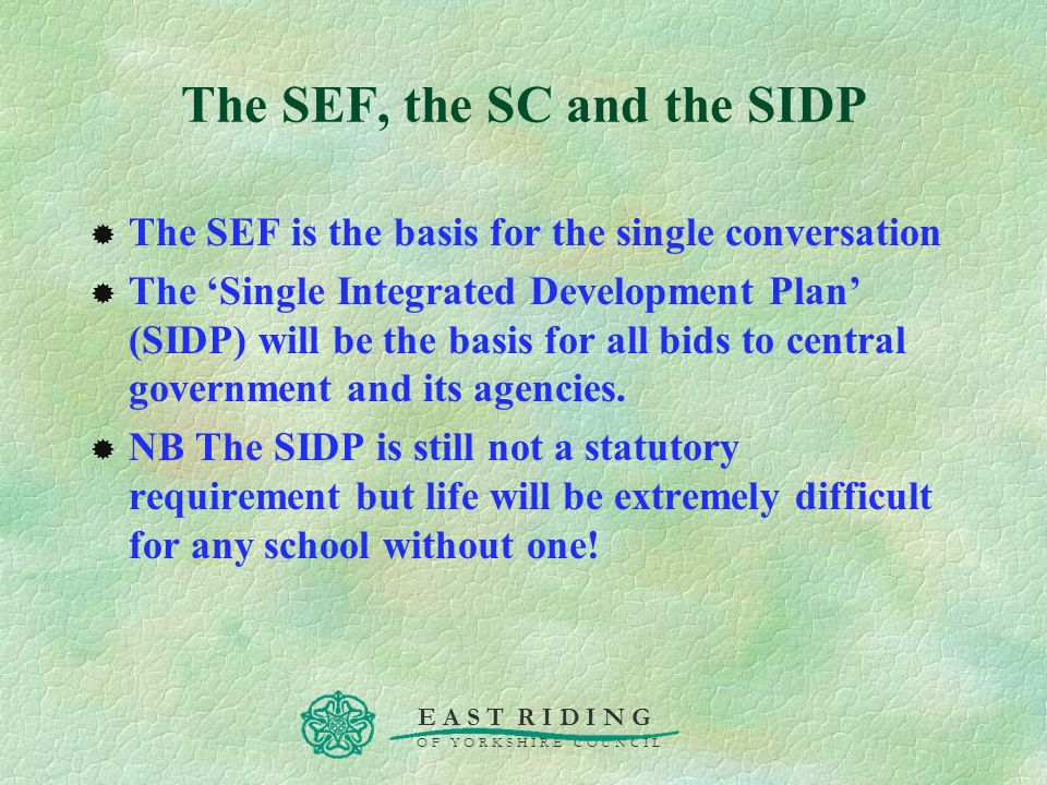 The SEF, the SC and the SIDP