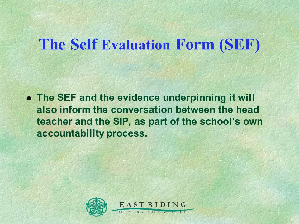 The Self Evaluation Form (SEF)