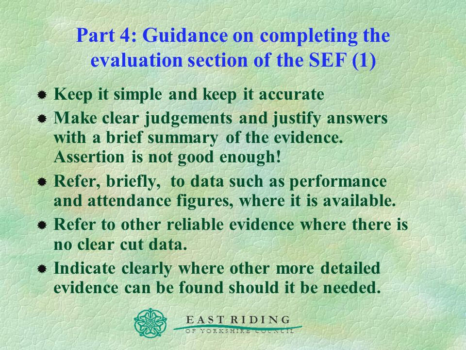 Part 4: Guidance on completing the evaluation section of the SEF (1)