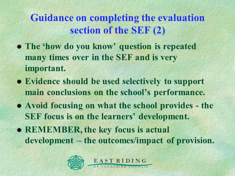 Guidance on completing the evaluation section of the SEF (2)
