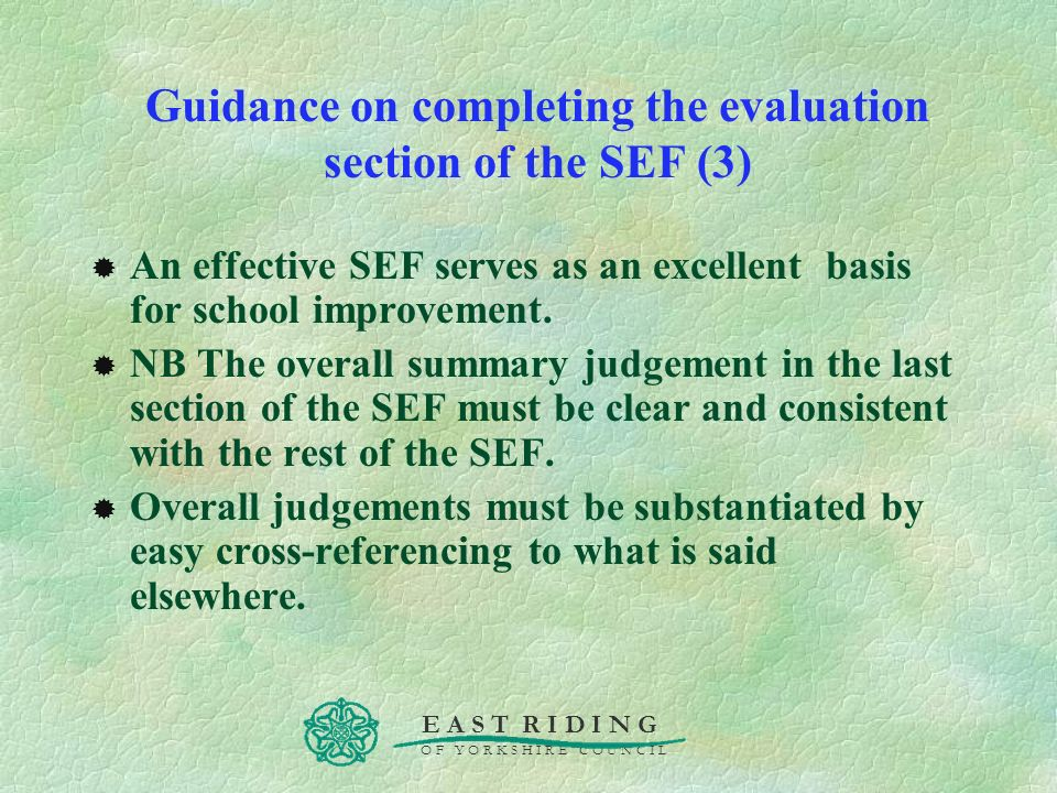 Guidance on completing the evaluation section of the SEF (3)