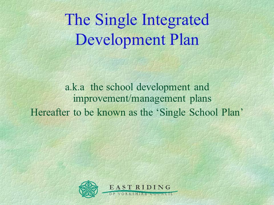 The Single Integrated Development Plan
