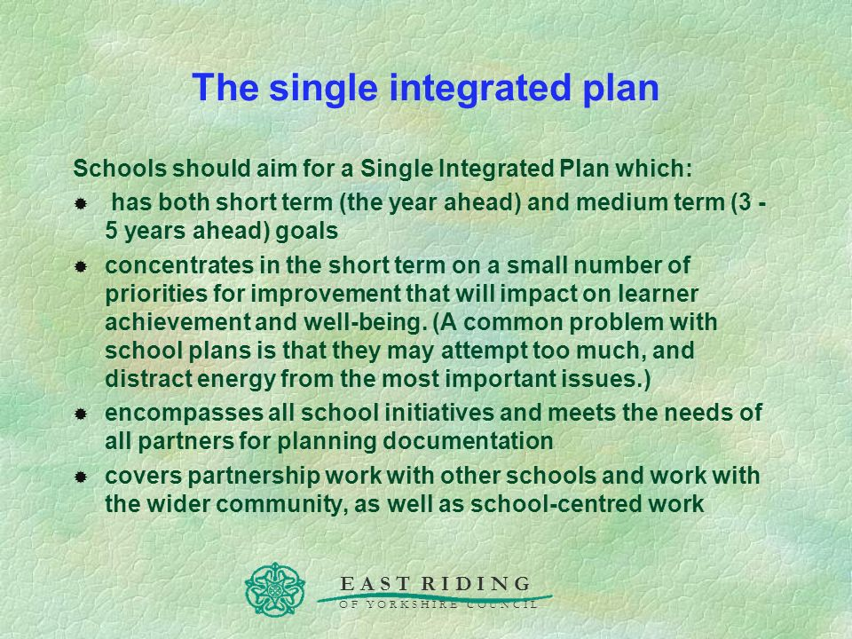 The single integrated plan