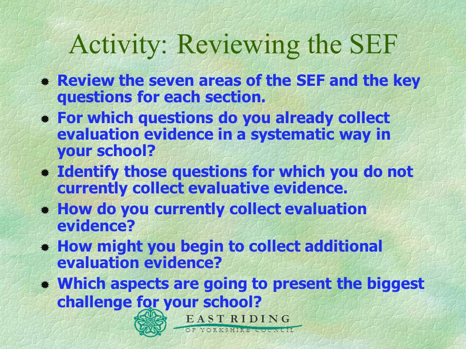 Activity: Reviewing the SEF