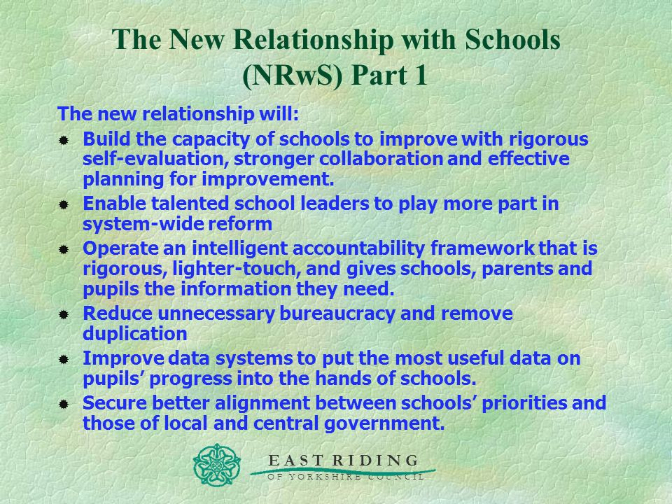 The New Relationship with Schools (NRwS) Part 1