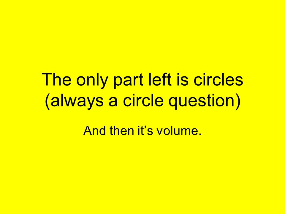 The only part left is circles (always a circle question)