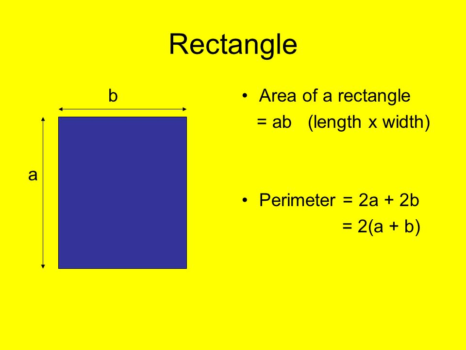Rectangle b a Area of a rectangle = ab (length x width)