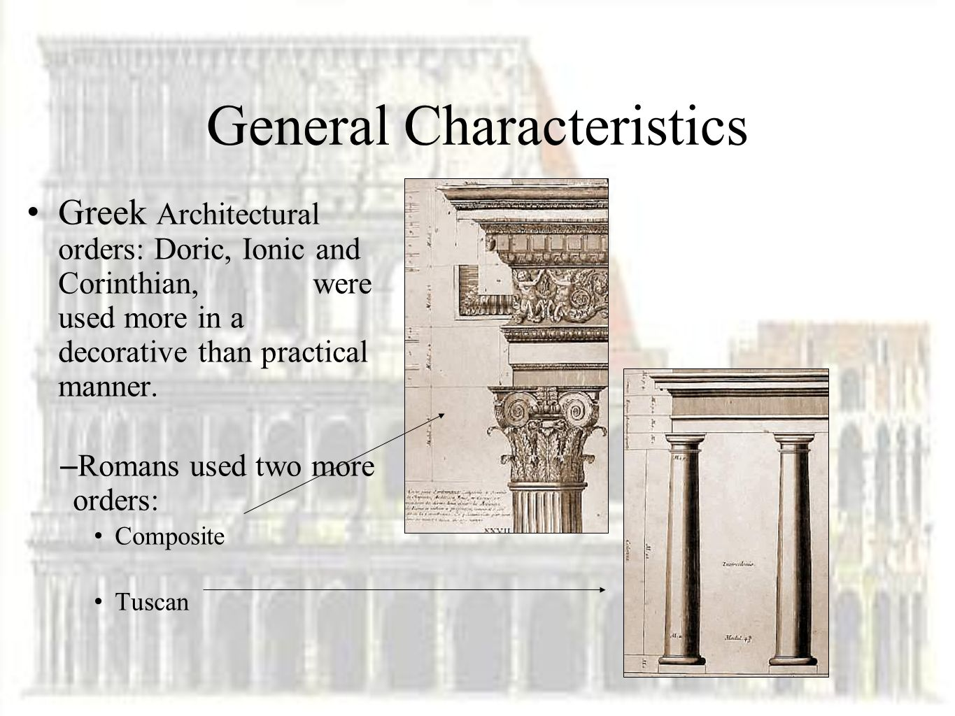 7 General Characteristics Greek Architectural Orders