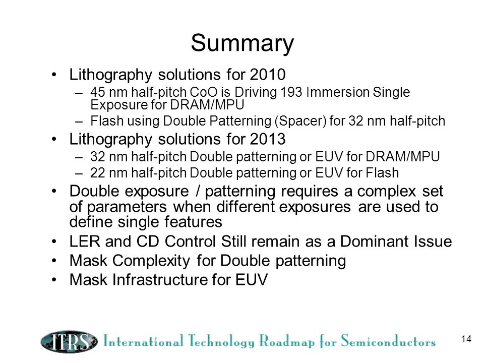 Summary Lithography solutions for 2010 Lithography solutions for 2013