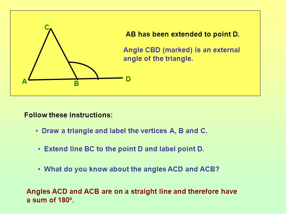 A B. C. AB has been extended to point D. Angle CBD (marked) is an external angle of the triangle.