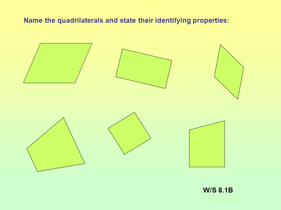 Name the quadrilaterals and state their identifying properties: