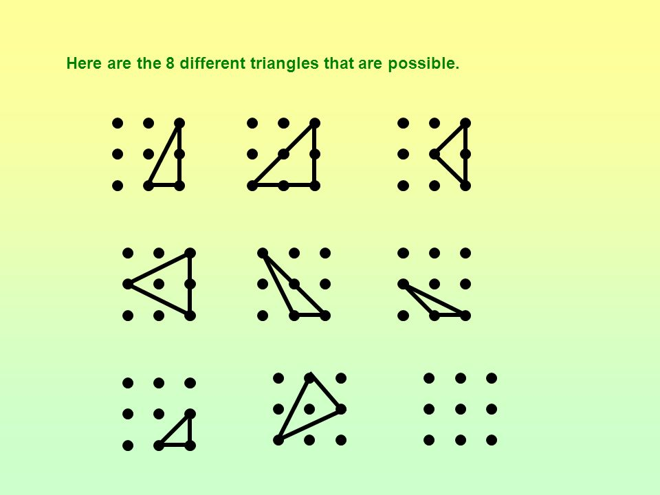 Here are the 8 different triangles that are possible.