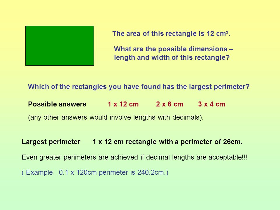 The area of this rectangle is 12 cm².