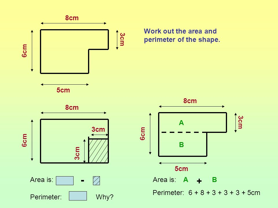 - + 8cm 6cm 3cm 5cm Work out the area and perimeter of the shape. 8cm