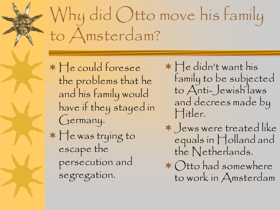 Why did Otto move his family to Amsterdam