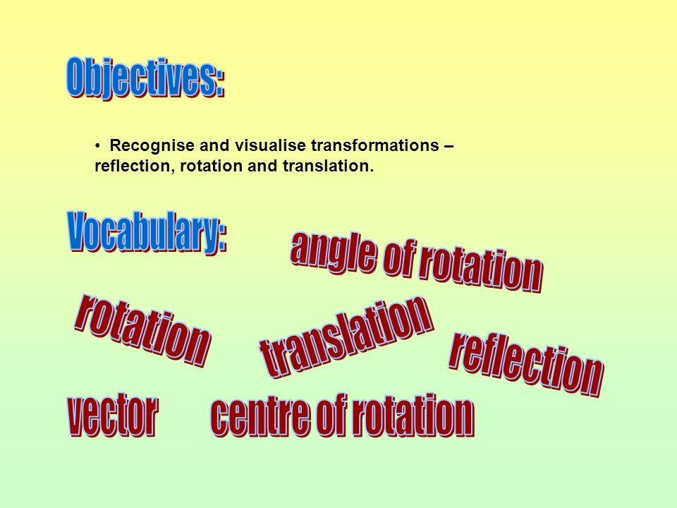 Objectives: Vocabulary: angle of rotation rotation translation