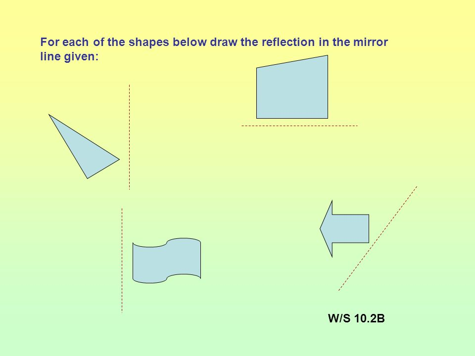 For each of the shapes below draw the reflection in the mirror line given:
