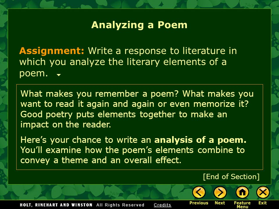 poetry explication essay assignment Poetry memorization & explication assignment packet 3 you will print out and turn in to me your 3-page explication essay on one poem the essay.