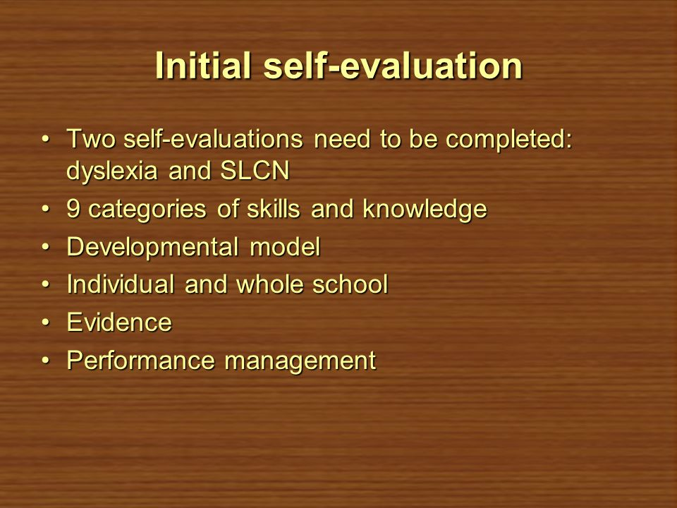 Initial self-evaluation