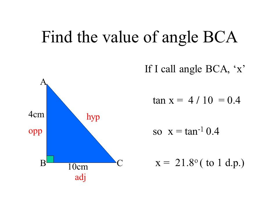 Find the value of angle BCA