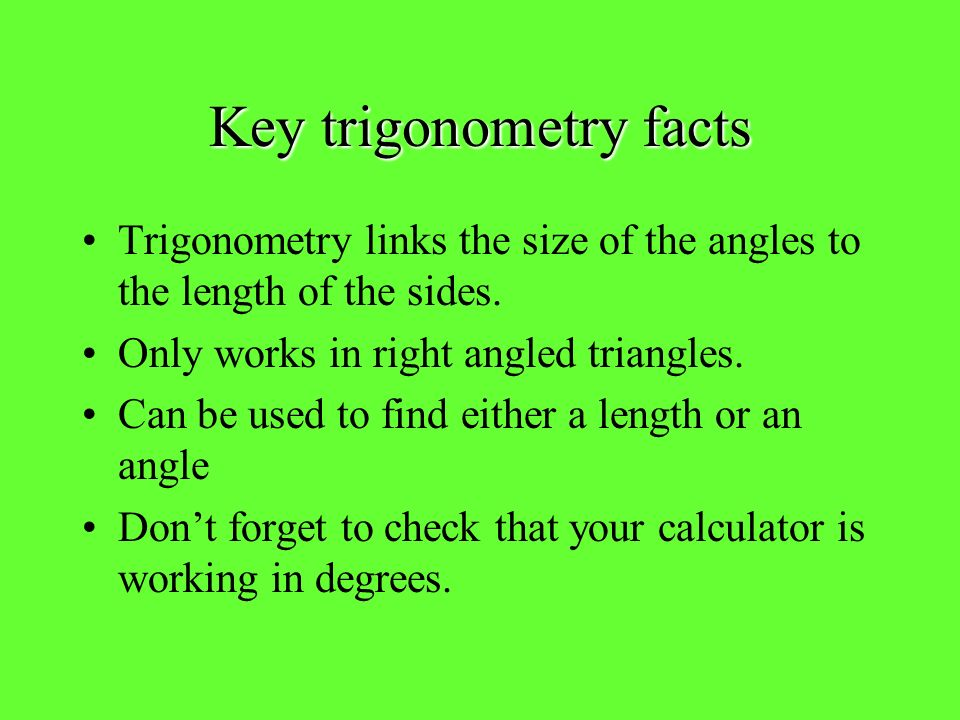 Key trigonometry facts