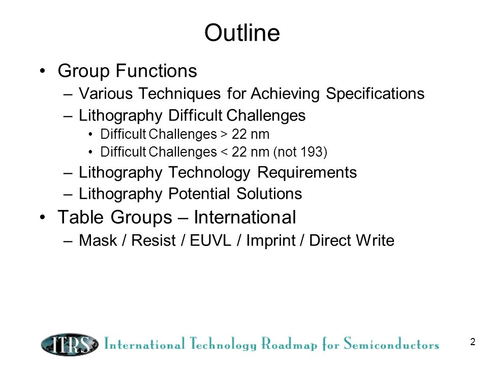 Outline Group Functions Table Groups – International