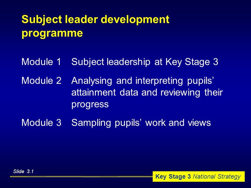 Subject leader development programme