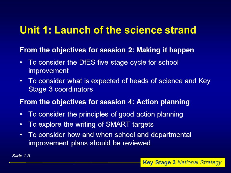 Unit 1: Launch of the science strand