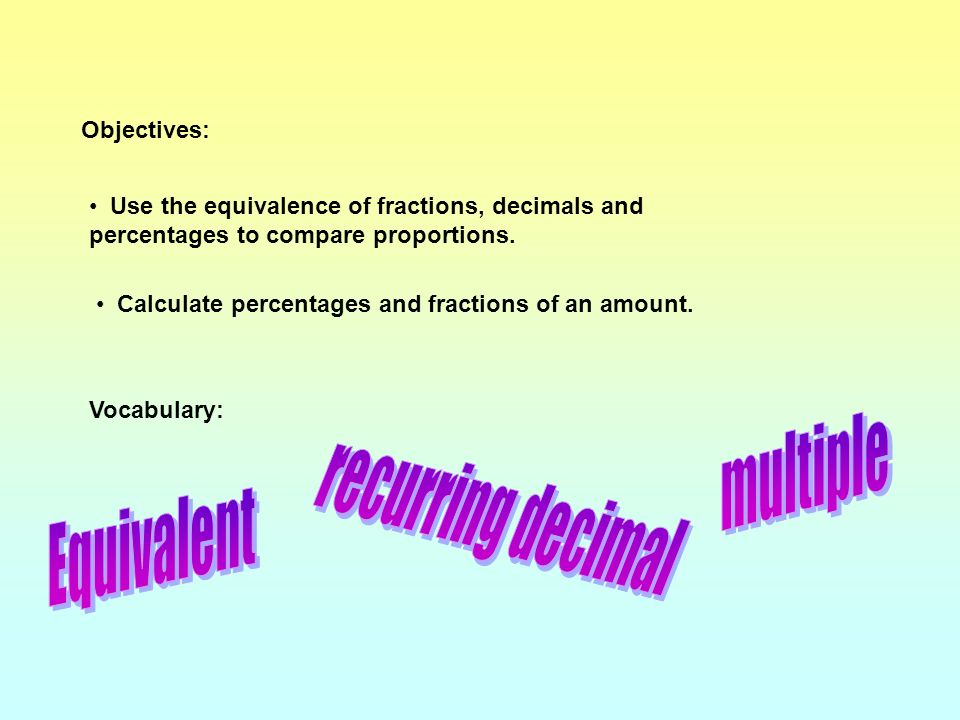 multiple recurring decimal Equivalent Objectives: