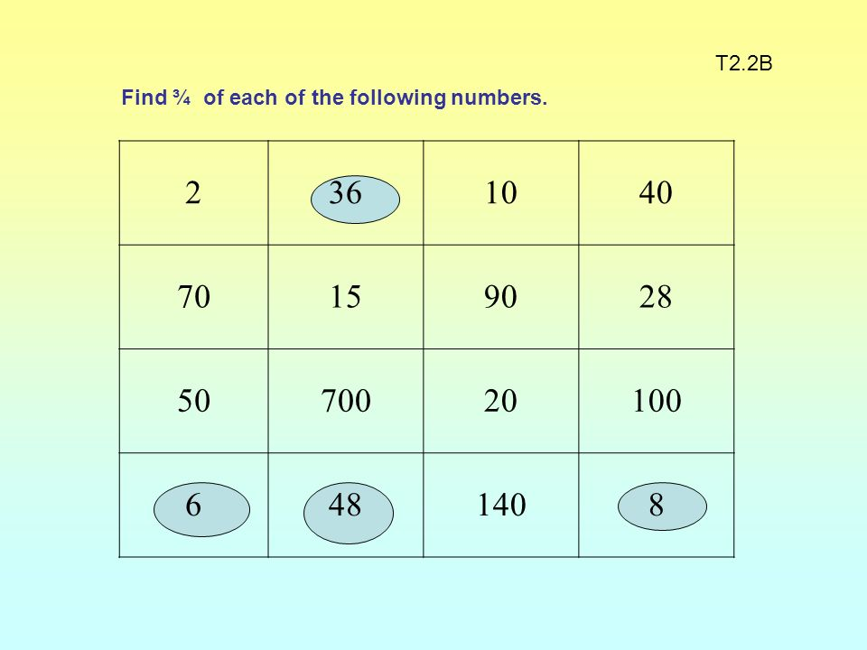 T2.2B Find ¾ of each of the following numbers