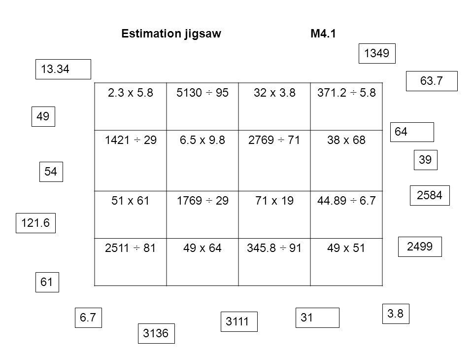 Estimation jigsaw M4.1 1349. 13.34. 63.7. 2.3 x 5.8. 5130 ÷ 95. 32 x 3.8. 371.2 ÷ 5.8. 1421 ÷ 29.