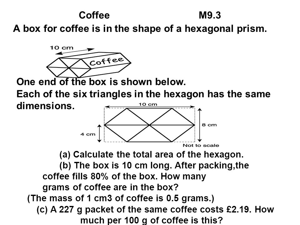 A box for coffee is in the shape of a hexagonal prism.
