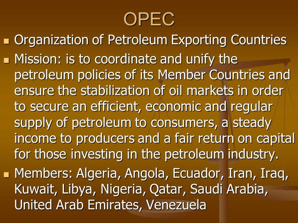 economic purpose of opec