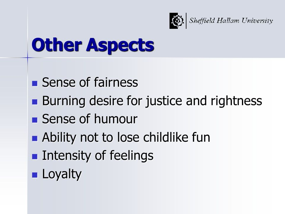 Other Aspects Sense of fairness