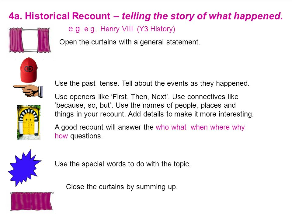 4a. Historical Recount – telling the story of what happened.